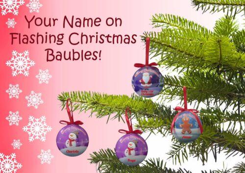 Votre nom en clignotant led noël baubles-cadeau personnalisé arbre décoration