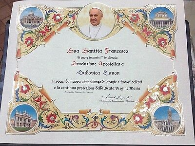 MOD 2 OFFICIAL PERSONALIZED POPE BLESSING CERTIFICATE FROM VATICAN W/ PAPAL SEAL