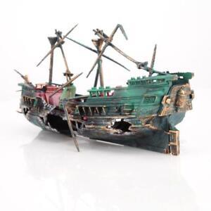 Aquarium Decoration Fish Tank Pirate Ship Ornament Large Plastic