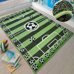 kinderteppich kinderzimmer fu ball fussballplatz spielteppich in gr n ko tex ebay. Black Bedroom Furniture Sets. Home Design Ideas