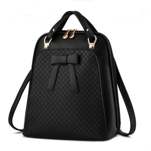 Ladies Leather Casual Backpack Bow Design Fancy Solid Korean Style Softback Bags
