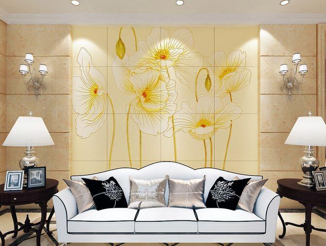 3D I Fiori gialli Parete Murale Foto Carta da parati immagine sfondo muro stampa