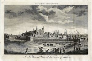 Antique-engraving-A-north-west-view-of-the-Tower-of-London