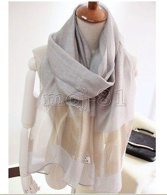 Elegant Gray Women's Solid Print Ture 100% Silk Oblong Shawl Wrap Scarf Scarves