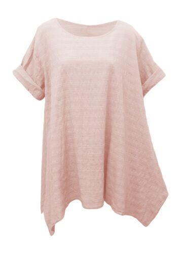 100/% Bw Leinen-Optik Kurzarm Shirt Longshirt 40-44 BLUSEN DAMEN SHIRT