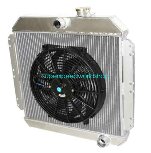 """Aluminum Racing 3 Row Radiator+16/"""" Fans fits 49-52 Chevy Styleline V8 MT"""