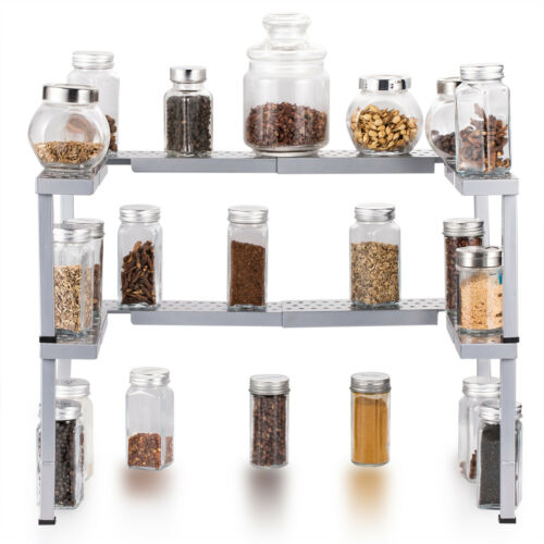 Spice Jar Rack Cabinet Storage Rack Kitchen Countertop Organizer Stackable