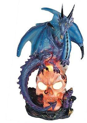 8 Inch Blue Dragon Standing on Skull Figurine Figure Statue Fantasy Magic