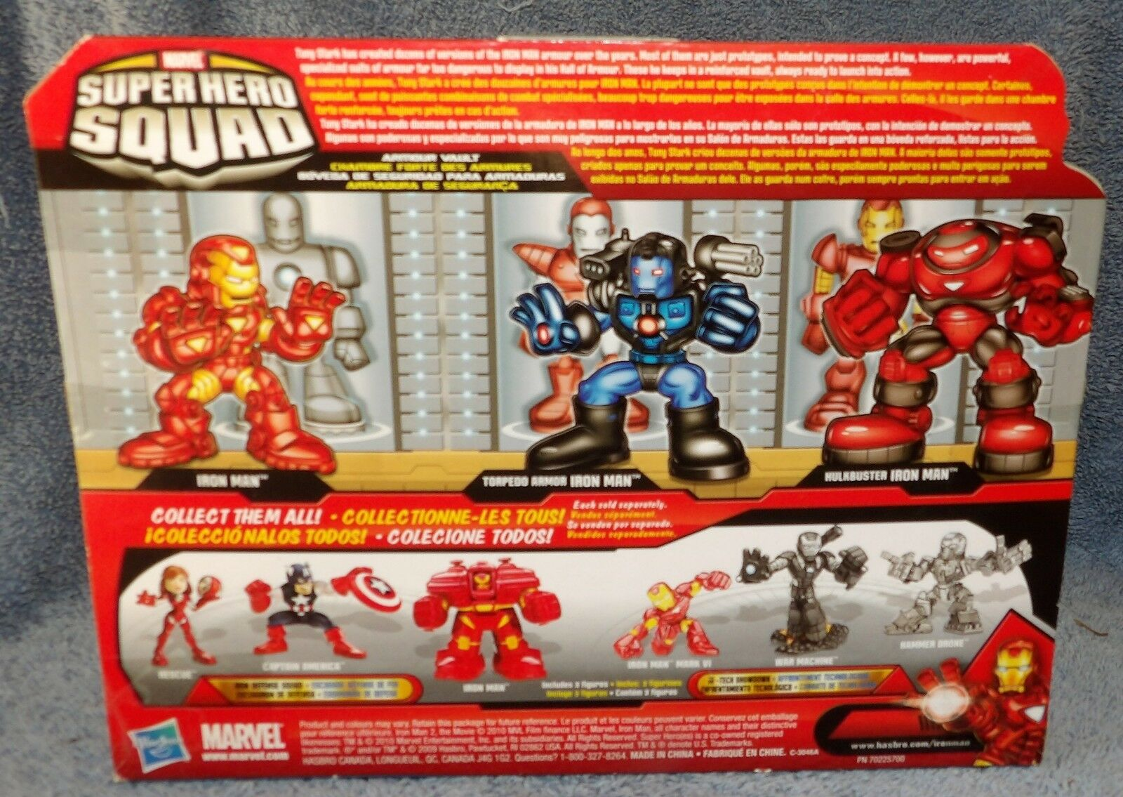 SUPER HERO SQUAD MARVEL IRON MAN 2 ARMOR ARMOR ARMOR VAULT SET AMOUR VAULT f45957