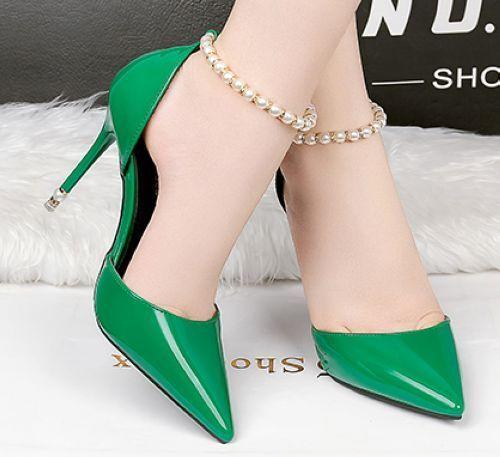 Pumps Sandale Stilett 9 cm komfortabel elegant grün Gurt simil Leder CW990