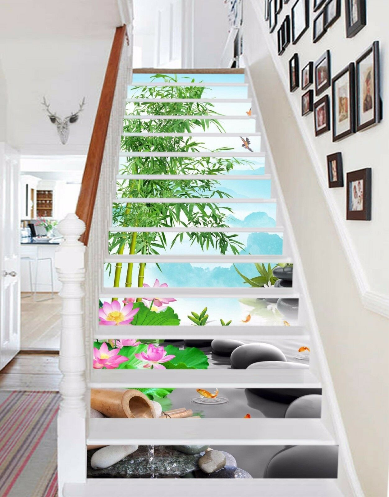 3D Bamboo grove 5 Stair Risers Decoration Photo Mural Vinyl Decal Wallpaper UK