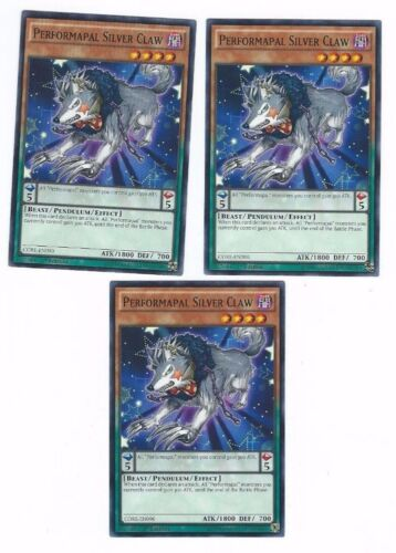 IN HAND X3 YUGIOH PERFORMAPAL SILVER CLAW CORE-EN090 1ST COMMON