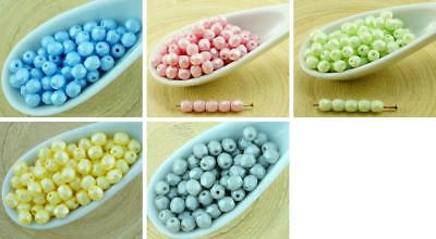 100pcs Matte Pearl Cotton Candy Round Faceted Fire Polished Spacer Czech Glass B