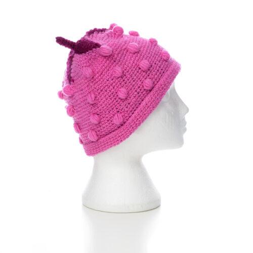 UNISEX STH36 Hand Knitted Strawberry Style Winter Woollen Beanie Hat One Size