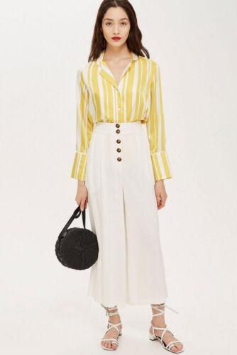 TOPSHOP Cream White Linen High Waisted Crop Culotte Capri Summer Casual Trousers