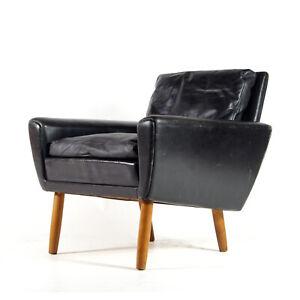 Retro-Vintage-Danish-Teak-Leather-Chair-Lounge-Easy-Armchair-Mid-Century-Modern