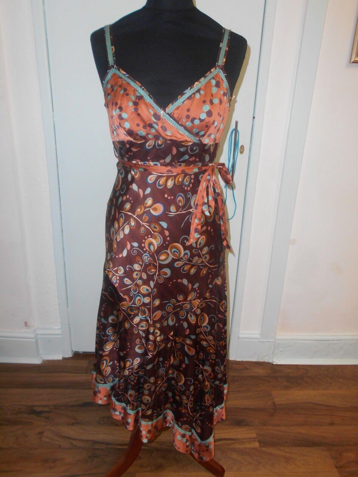 Ladies vintage size 12 stunning silk floral exotic dress