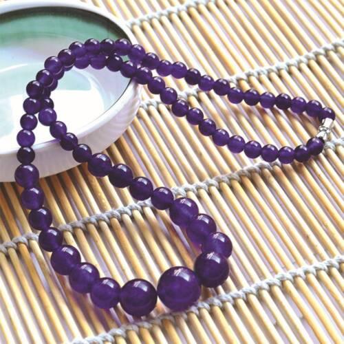 6-14mm Beaded Diameter Chalcedony Gemstone Necklace Malay Jade Necklace Pendant