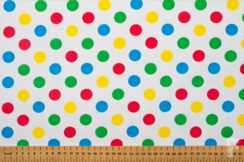 Multi Coloré Spots Sur Blanc Poly Coton Tissu-Pudsey Bear//Children in Need