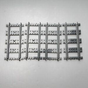 Lego Eisenbahn 8 x Schienen gerade Schiene RC 53401 Neu-Dunkelgrau