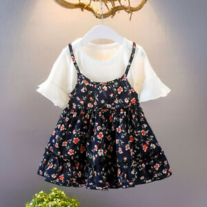 Toddler-Infant-Baby-Girls-Kids-Dresses-Clothes-Fly-Sleeve-Ruched-Floral-Flowers