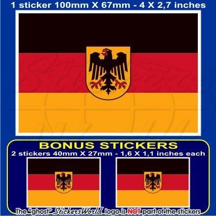 """GERMANY German Deutsch State Flag 100mm Vinyl Sticker 4/"""" Decal x1+2 BONUS"""