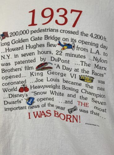 Vintage 1937 Year Vintage T Shirt Hanes Frances M… - image 1