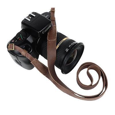 Genuine Leather DSLR Camera Shoulder Neck Strap Nikon Canon Minimalist Brown Tan