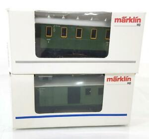 MARKLIN-4038-4039-HO-GERMAN-GREEN-LIVERY-BRANCH-LINE-COACH-WITH-LUGGAGE-VAN