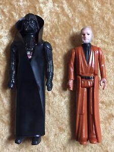 STAR-WARS-1977-Vintage-Kenner-Action-Figures-Darth-Vader-amp-Obi-Wan-Kenobi