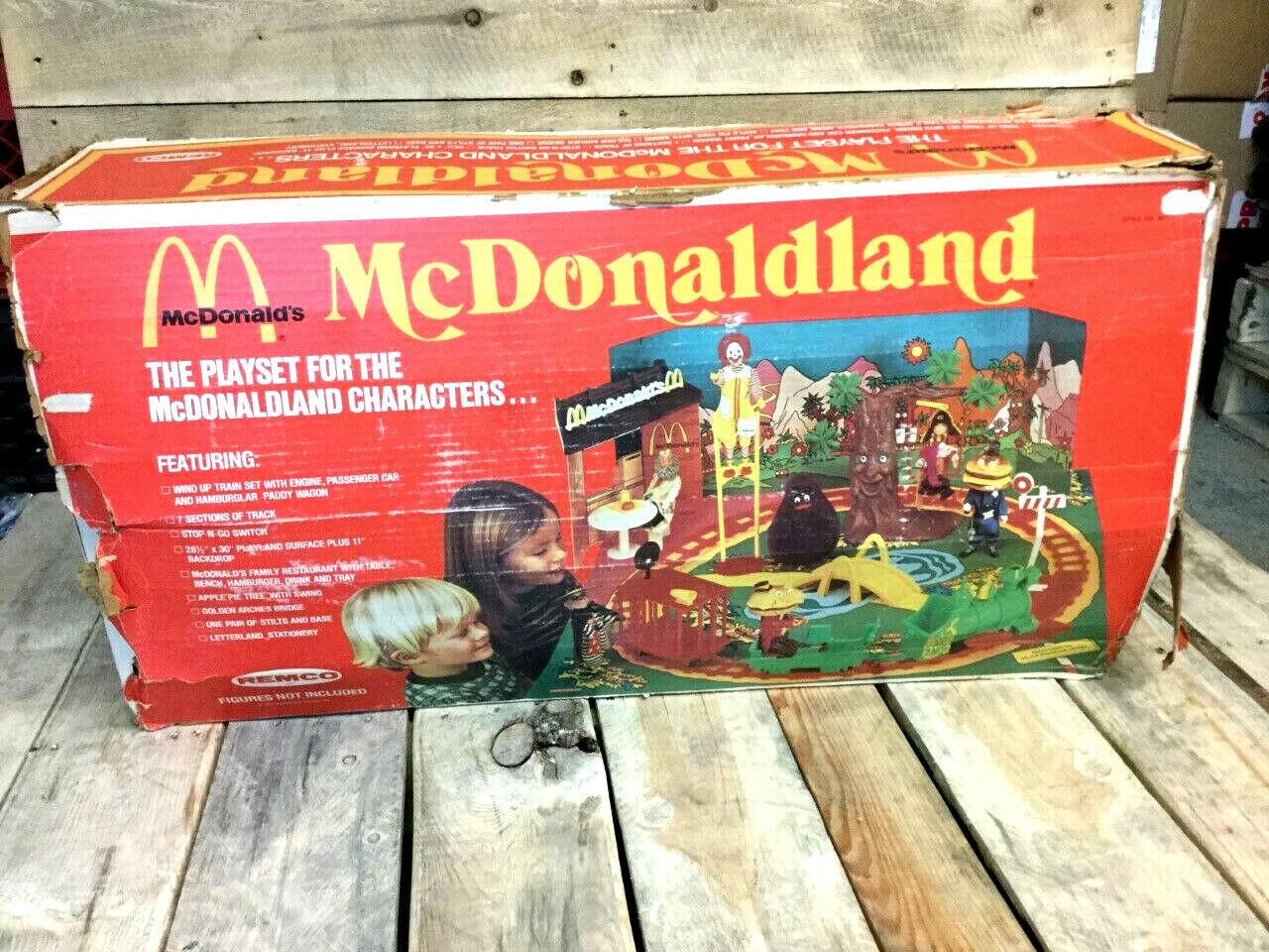 1976 Vintage Remco McDonaldland Playset Complete Set With Train Playmat Boxed
