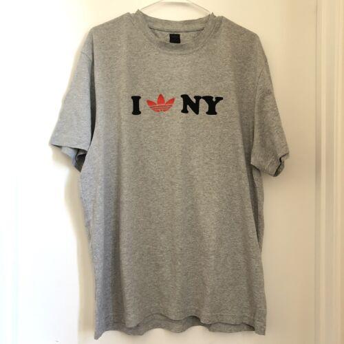 """Adidas Grey I Love """"Trefoil"""" NY T-shirt, Mens Size"""