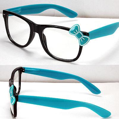 New Wayfarer Clear Lens Frame Glasses Bow Bowknot Womens Hello Kitty Style Nerd