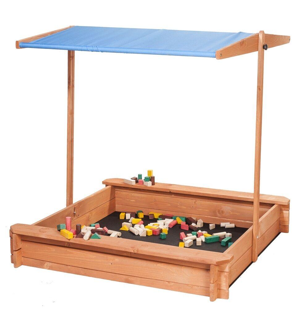 Sandkasten mit verstellbarem Dach und Sitzbank BLAU Spielplatz für Kinder