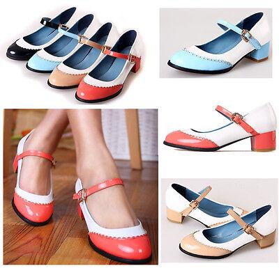 Womens Girls RoundToe mary Jane Chunky Heel Vintage Leather Pump Shoes PLus Size