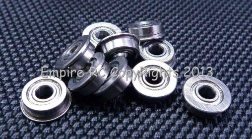 Metal Shielded FLANGED PRECISION Ball Bearing Set 10 PCS MF83ZZ 3x8x2.5 mm