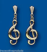 9k Yellow Gold Treble Clef Drop Earrings 25 X 8mm - British Made - Hallmarked