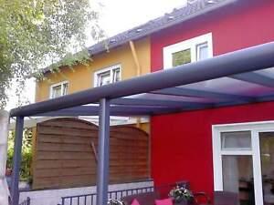 Terrassendach Alu 16 mm Stegplatten opal Terrassenüberdachung 9 m breit Carport