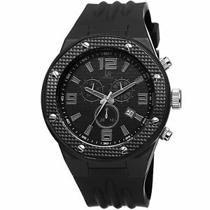 New-Men-039-s-Joshua-amp-Sons-JS62BK-All-Black-Chronograph-Date-Silicone-Strap-Watch