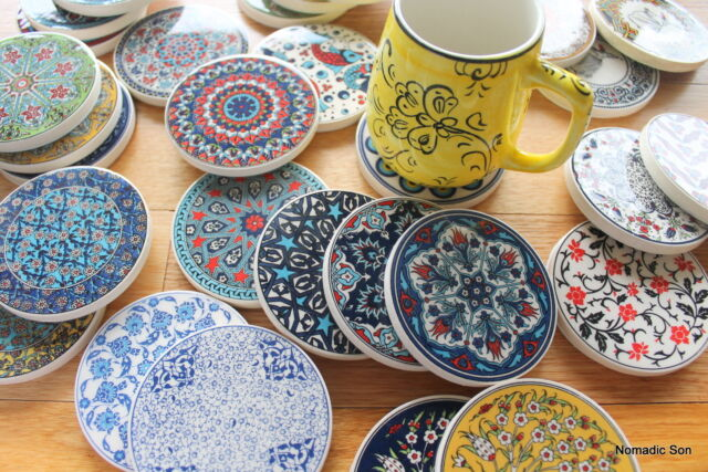 Turkish ceramic coasters - traditional Ottoman designs - mix and match