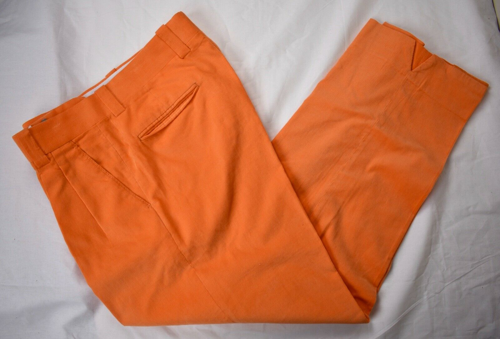 Unbranded Solid Neon orange Corduroy 100% Cotton Casual Trousers Size  34x30