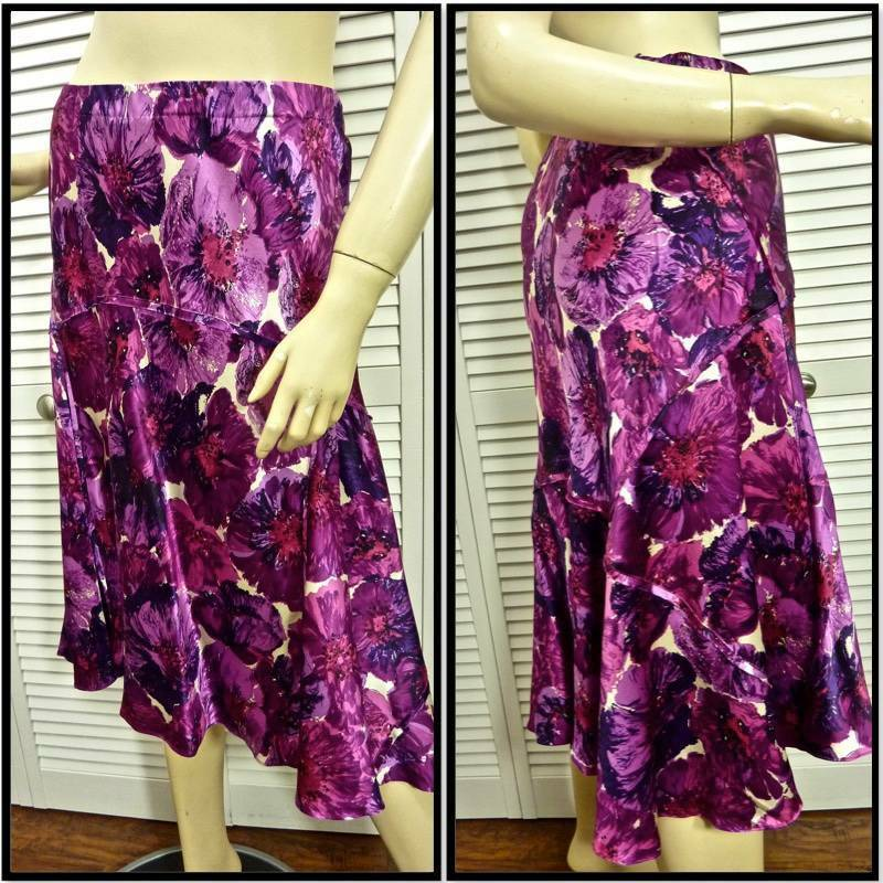 NWT  250 DANA BUCHMAN SKIRT 12 Magenta Purple Floral w Godets 100% Silk