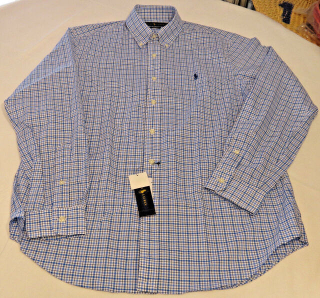 Mens Polo Ralph Lauren L long sleeve blue blk wht plaid 990022 classics shirt