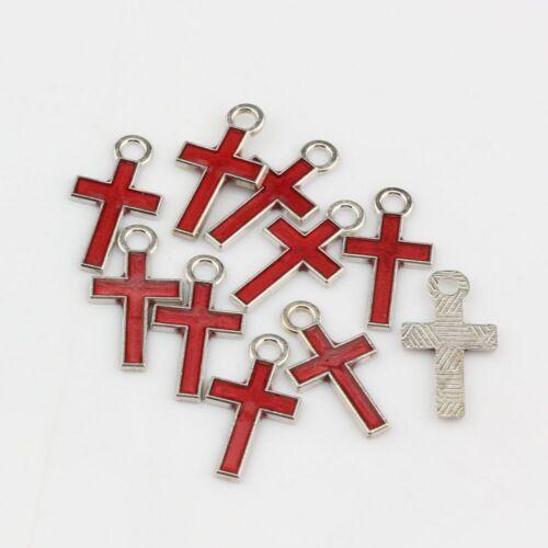 100pc couleur rouge élégant jolie petite émail Croix Alliage Charme 8*15mm