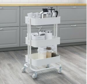Details about Ikea Raskog Kitchen Trolley White for Kitchen Bathroom  Bedroom Storage Castors