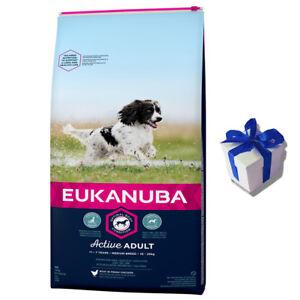 Croquette Eukanuba 15 Kg Adulte Actif Poulet Nourriture pour Chien Cadeau
