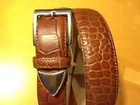 Talbots Womens M Italian Made Genuine Brown Leather Belt W/ Silver Hardware