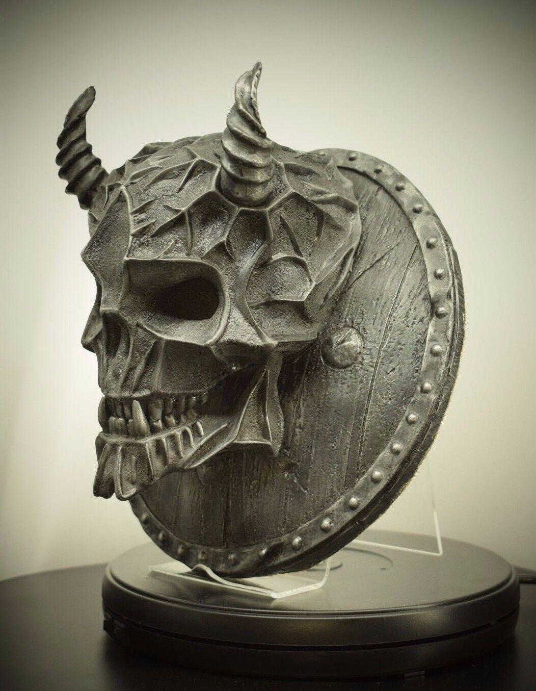 Escultura de esqueleto de hierro Satanás cráneo decoración de parojo Arte placa Ornamento Estatua Gótico