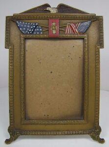 Antique Eagle American Flag Decorative Art Frame Cast Iron