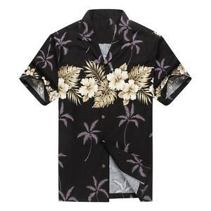 Made-in-Hawaii-Men-Hawaiian-Aloha-Shirt-Luau-Cross-Hibiscus-in-Black